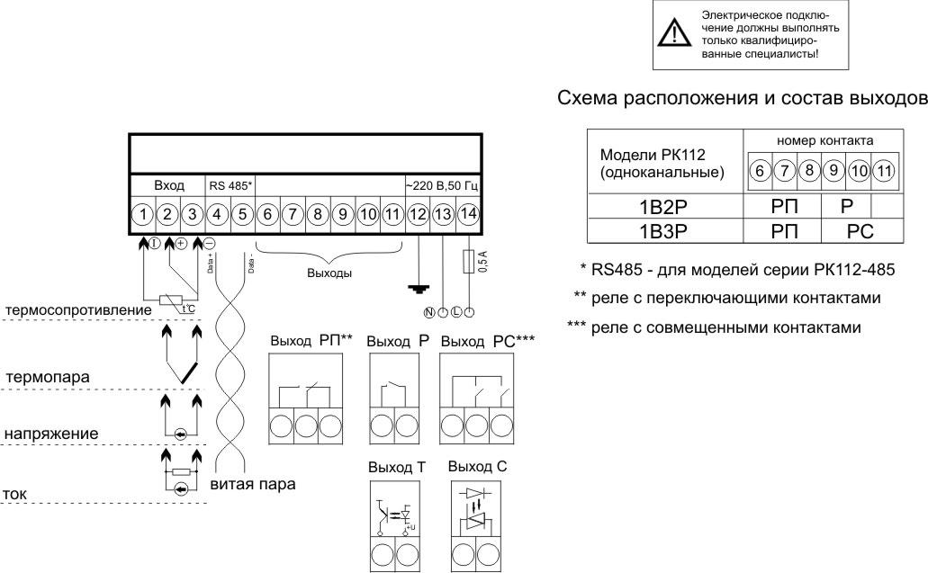 Схема подключения 2 РК 112