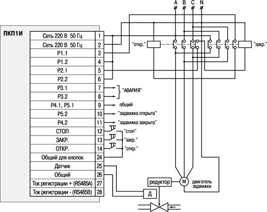 ОВЕН ПКП1 устройство управления и защиты электропривода задвижки без применения концевых выключателей.