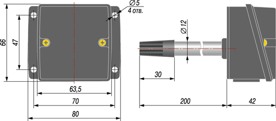 Габаритный чертеж термопреобразователя ОВЕН ДТС3015