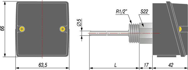 Габаритный чертеж термопреобразователя ДТС3105