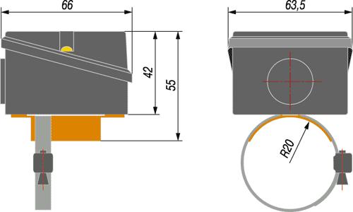 Габаритный чертеж термопреобразователя ДТС3225