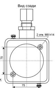 Схема взрывозащищенной, пылевлагозащищенной, взрывобезопасной коробки соединительной серии КСВ-3.  Вид сзади.