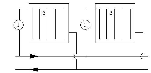 двухтрубная горизонтальная система отопления - Микросхемы.